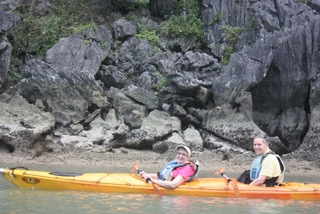 Sal and Rich Kayaking in Halong Bay